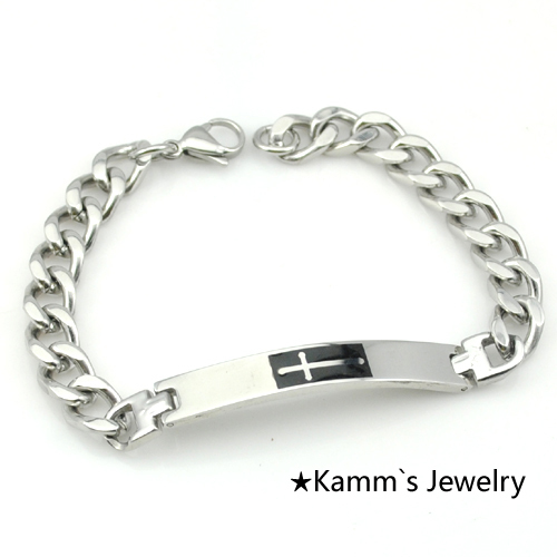 AMUMIU Fashion New Cuff bracelets Mens Silver Cross Stainless Steel ID Hot Sale Heavy Cool, For Biker, Gift, kids jewelry,KB087