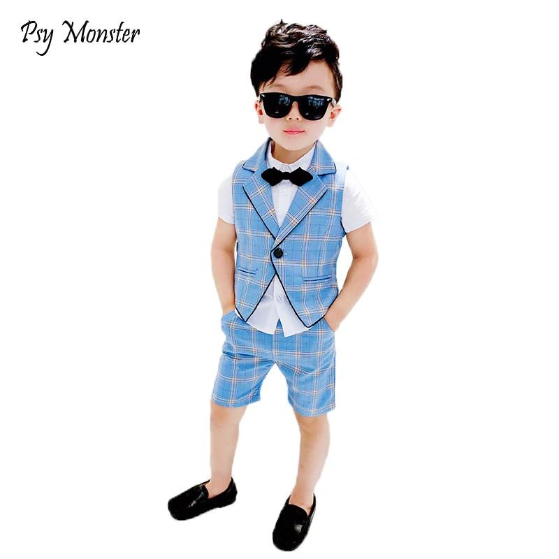 Kids Boys Summer Vest+Shorts+Tie 3PCS Clothing Set Gentleman Wedding Dress Children Plaid Party Formal Wear Suit F130 1