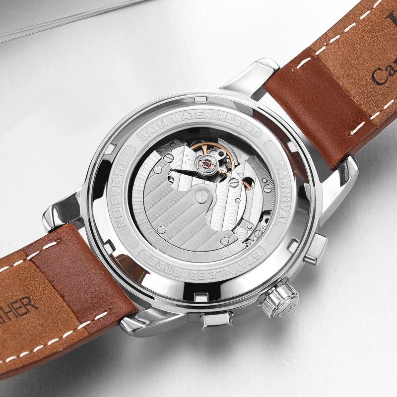 Карнавал смотреть Для мужчин автоматические механические Для мужчин часы Элитный бренд relogio masculino сапфир Moon phase Для мужчин s часы C-8781-4
