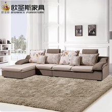 fair cheap low price 2017 modern living room furniture new design l shaped sectional suede velvet fabric corner sofa set X660-1(China)