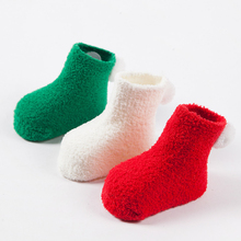 Christmas dress up 3Pairs thick warm baby socks autumn and winter solid color coral velvet ball newborn toddler floor