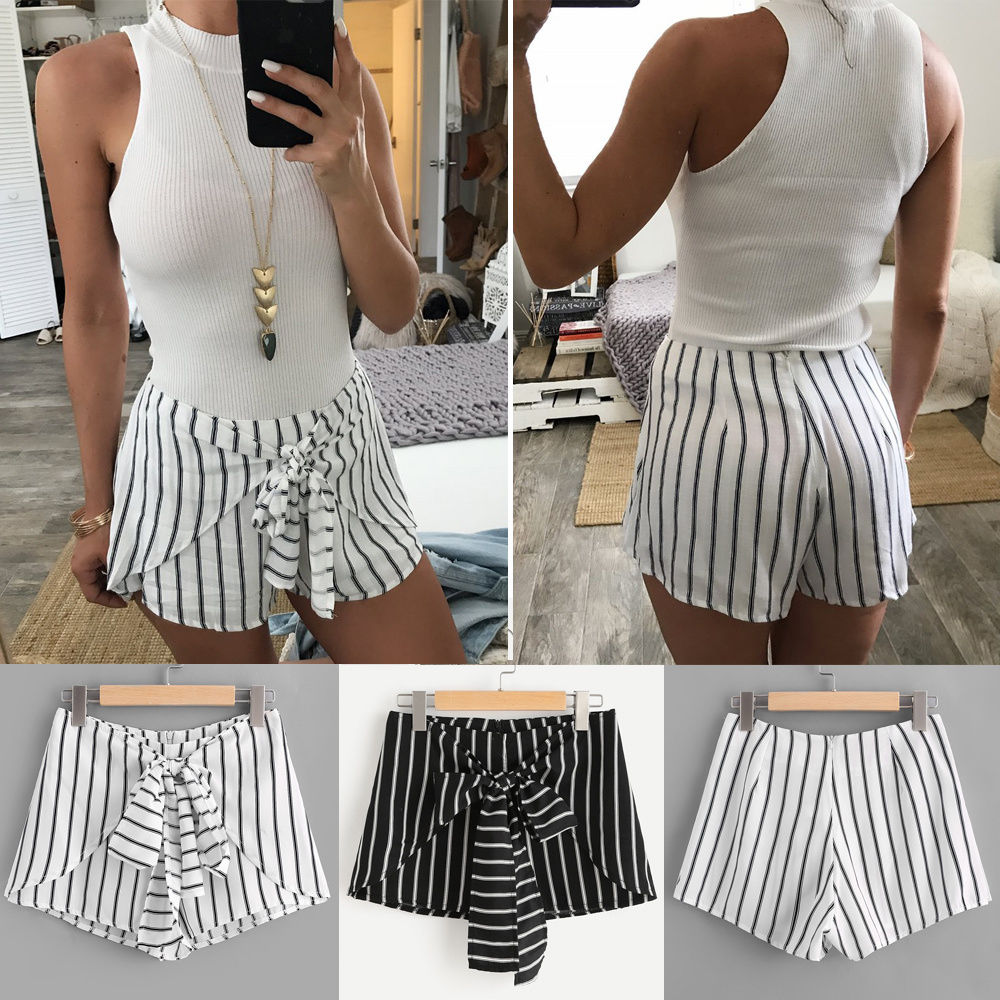 ITFABS New Brand 2018 Newest Women Hot Stylish   Short   Sexy Summer Casual Soft   Shorts   High Waist Striped Bowknot   Short