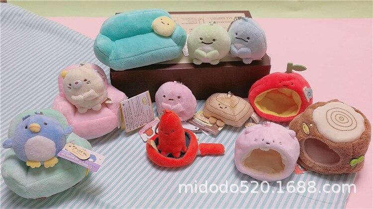 New Cute San-X Plush Pendants Sumikko Gurashi Plush Stuffed Keychain Cartoon Sumikko Safa Animal Stuffed Plush Toys