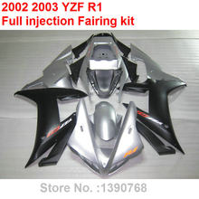 Aftermarket body parts fairings for Yamaha YZF R1 2002 2003 silver black motorcycle fairing kit YZFR1 02 03 BV35