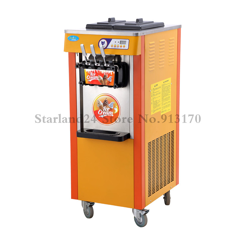 Commercial Soft Ice Cream Machine 3 Flavor Frozen Yogurt Soft Serve Cone Maker 220V with Digital Control System