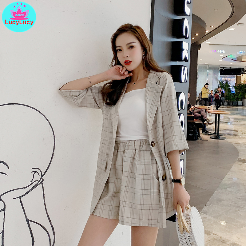 2019 Summer Korean Temperament Plaid Casual Blazer And Shorts 2 Piece Net Red Suit Three Quarter Button Fly  Single Breasted