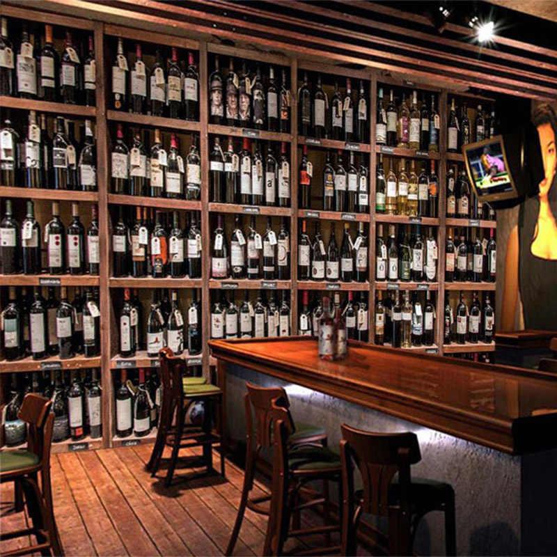 Европейский стиль 3D обои современные красные винные бутылки деревянный винный шкаф фото настенные фрески кафе бар ресторан фон обои