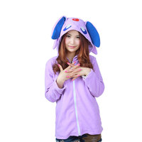 Europe Hippie Cute Purple Color Fleece Adults Unisex Sweatershirt With Chapeau Hoody Jacket Spring Autumn