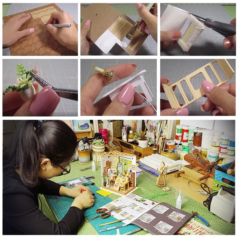 DIY Doll House Trä Miniatura Doll House Miniatyr Dollhouse Leksaker - Dockor och tillbehör - Foto 5