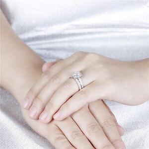 Image 4 - DovEggs סטרלינג מוצק 925 כסף מרכז 1ct 6.5mm H צבע Moissanite Halo חתונת טבעת סט 2 חתיכות כלה קלאסי להקה