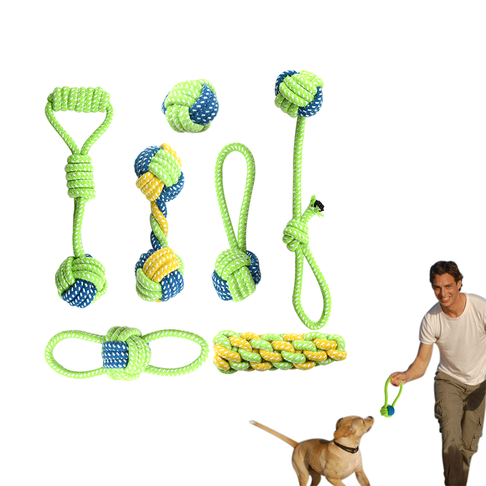 Pet Dog Cotton Rope Toy Dog 7 Pcs Chew Toys Honden Speelgoed Interactive Dogs Toys Tooth Cleaning Dog Love Throwing Bite Toys