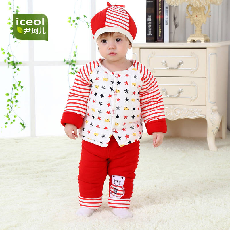 3pcs Fashion Baby Boy Girls Clothes 2018 Autumn Winter Thick Organic Cotton Baby Sets Full Sleeve Cartoon New Coat Kid Clothing 2017 new cartoon pants brand baby cotton embroider pants baby trousers kid wear baby fashion models spring and autumn 0 4 years