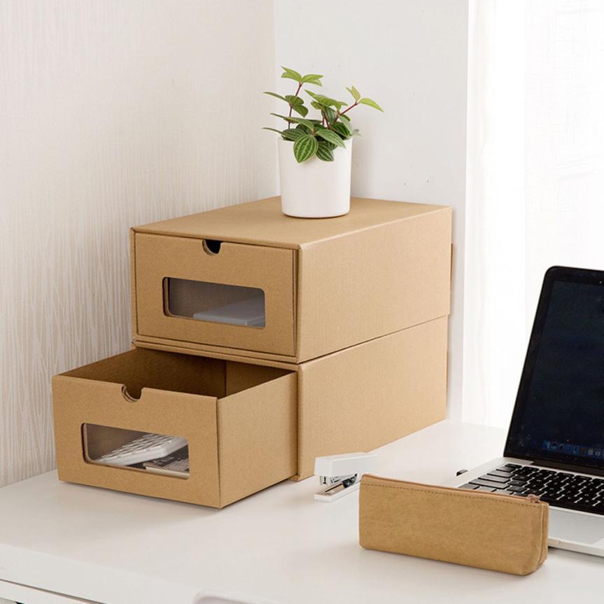 Shoes storage box case kraft paper load style storage shoe for Diy shoe storage with cardboard