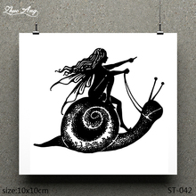 ZhuoAng Snail on woman pattern design clear stamp / scrapbook rubber craft card seamless