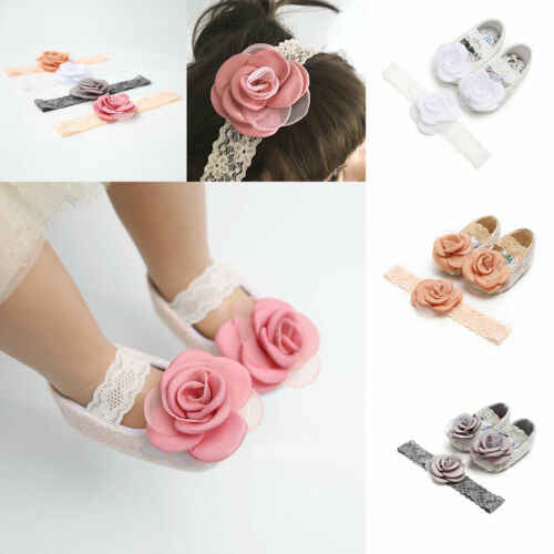 Infants Baby Girls Kids Breathable Lace Flower Shoes+Headband Summer 3 Sizes