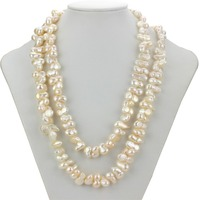SNH AA Latest Design Beads Necklace 100 Real Genuine Cultured 8 10mm Natural Freshwater Peanut Pearl