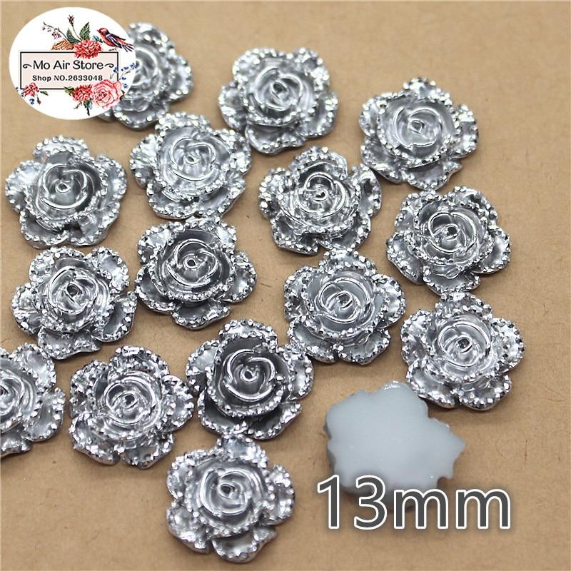 100pcs 13mm Silver Flower Resin Flatback Cabochon DIY Jewelry/phone Charm Decoration No Hole