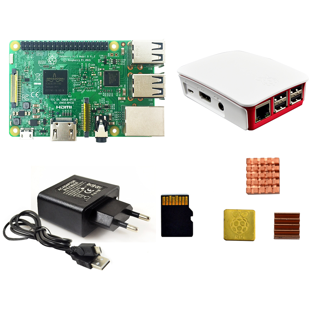 Kit pi raspberry pi 3 modelo b 3 placa/pi 3 caso/fonte de alimentação Europeia/16G cartão de memória/dissipador de calor