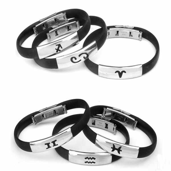 Fashion Jewelry Black 12Constellation Silicone Bracelet Punk Rubber Bangle Silver Stainless Steel Men Bracelet Bangle Wristbands