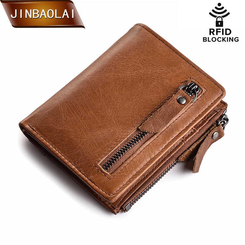 JINBAOLAI/мужские кошельки из натуральной кожи, короткий кошелек на застежке и молнии, Тонкий RFID блокирующий держатель для кредитных карт, кошелек carteira