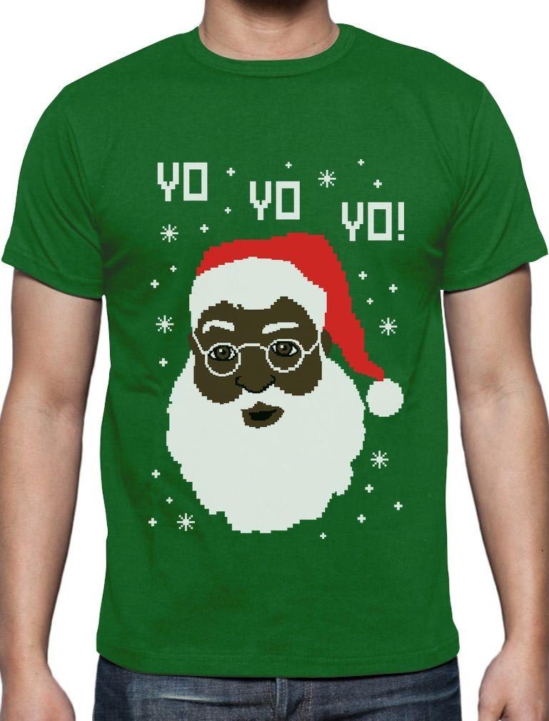 Funny T Shirts Novelty Men Crew Neck Short-Sleeve Yo Yo Yo Black Santa Ugly Christmas Sweater T-Shirt Funny Xmas Gift Tees