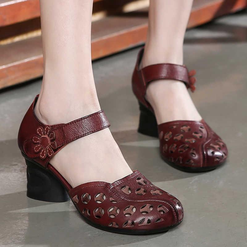 GKTINOO Genuine Leather Women Sandals Summer Shoes 6CM High Heels Retro Handmade Women Shoes 2019 Hollow Out Sandal