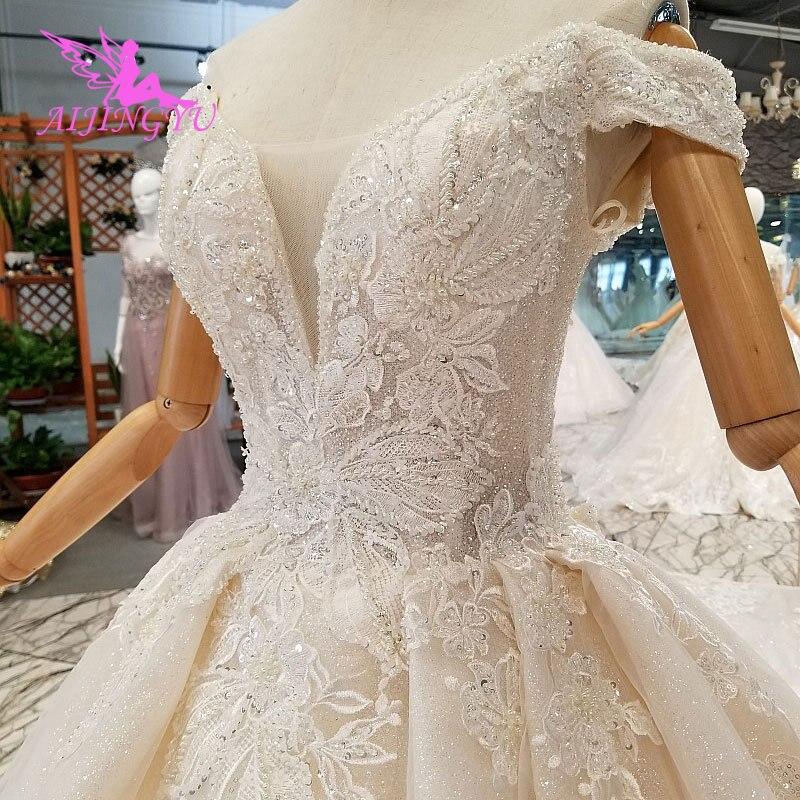 AIJINGYU Ruffle Wedding Dresses Romantic Bridal Gown For Sale Uk Long Sleeve Suzhou White Simple Gown