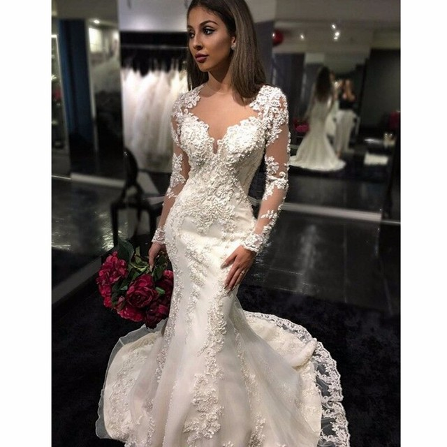 Retro Wedding Dress 2017 Stealth High Collar Long Sleeve Mermaid Dresses Lace Gowns Plus Size