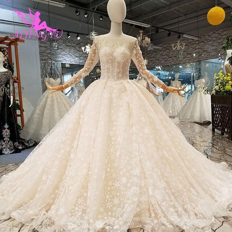 Image 4 - AIJINGYU Modern Wedding Dress Gowns Underskirt Summer Romantic Sexy Lace 2019 Marriage Vintage Brush Bridal Wedding DressesWedding Dresses   -