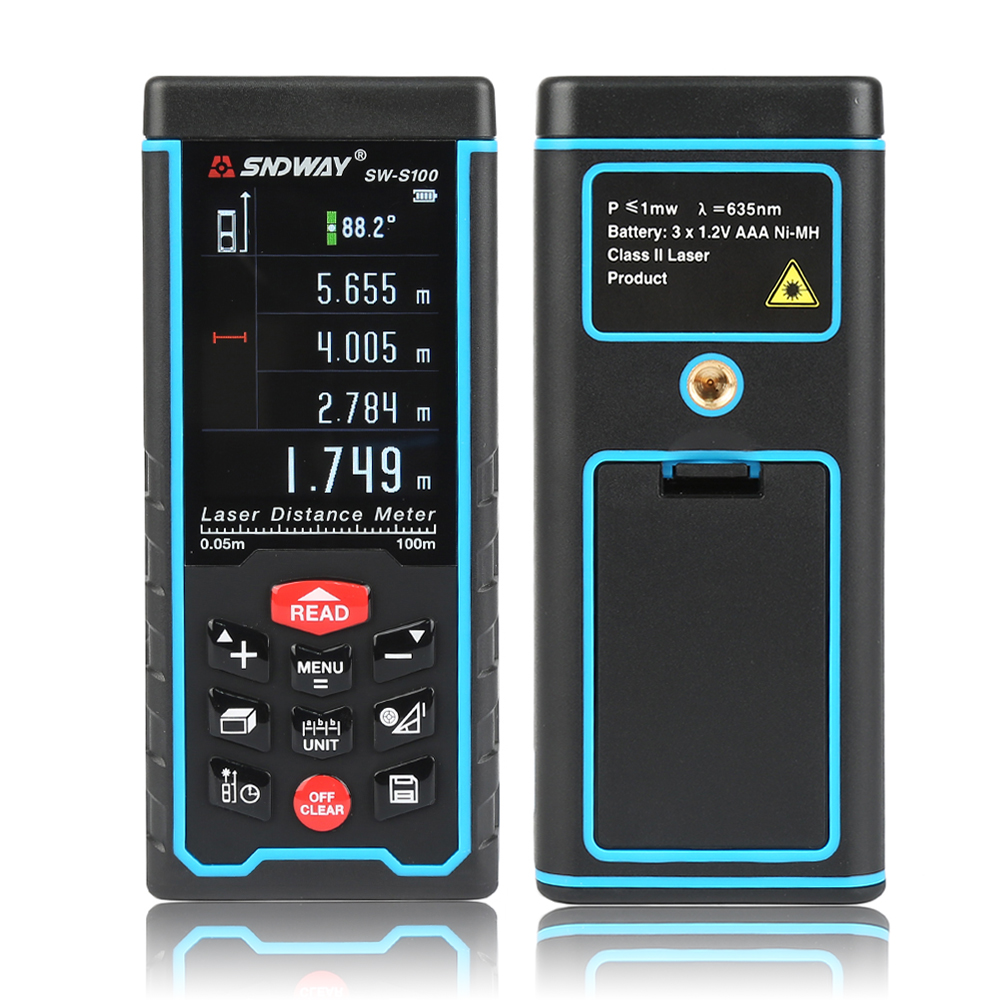 SNDWAY Color Display Rechargeable  SW-S100 Digital laser distance Meter trena laser Tape measure Diastimeter tester tool 100M La sndway digital laser distance meter rangefinder range finder sw 120 sw 150 120m 150m tape trena ruler tester hand tool home