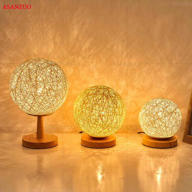 Rattan Desk Lamp Bedside Table Us Eu Plug Dimmable Bedroom Decoration Night Light Creative Birthday Kids Gift