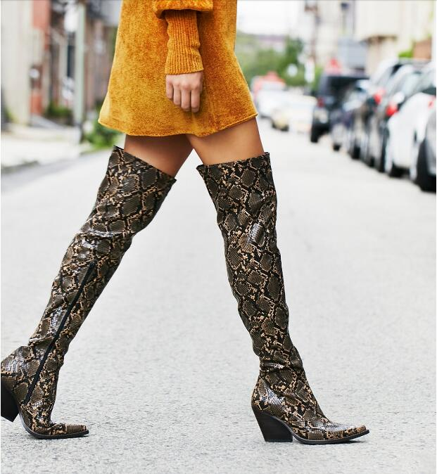 New Design Women Collins Tall Western Boot Over the Knee Boots Snakeskin Thigh High Boots Plus Size For Women Street BootiesNew Design Women Collins Tall Western Boot Over the Knee Boots Snakeskin Thigh High Boots Plus Size For Women Street Booties