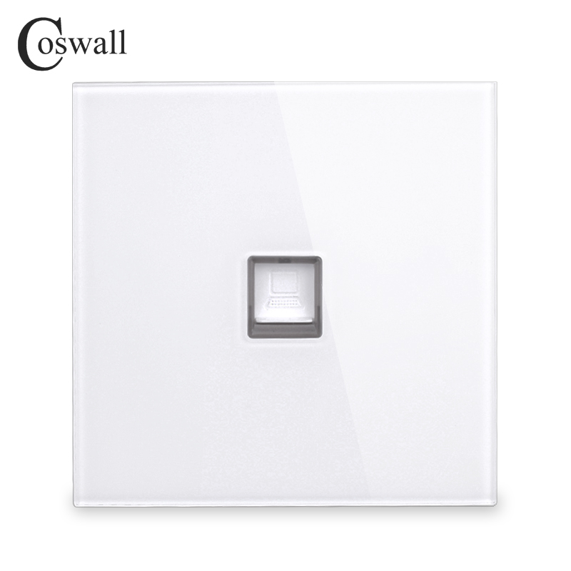 Coswall 2018 New Arrival Crystal Tempered Glass Panel RJ45 Internet Jack Wall Data Socket Computer Outlet