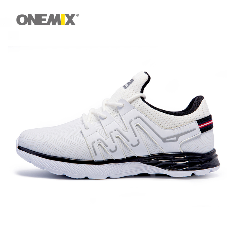 Onemix men running shoes autumn winter leather shoes reflective male athletic shoes outdoor sport sneakers in