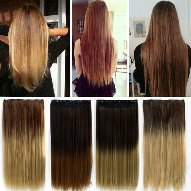 24 60cm Clip In Straight Long Hair Extension Hair Extensions De