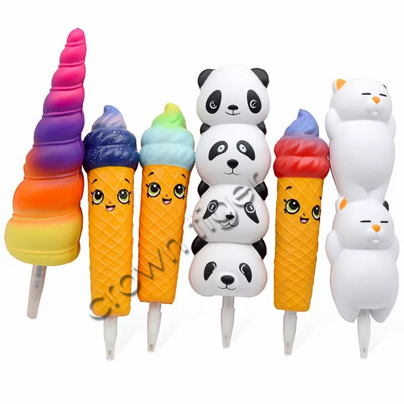 Kawaii Squishy Unicorn Ice Cream Cat Panda Pen Cap Stationery Pencil Holder Toppers Slow Rising Squeeze Children's Day Gift Toy