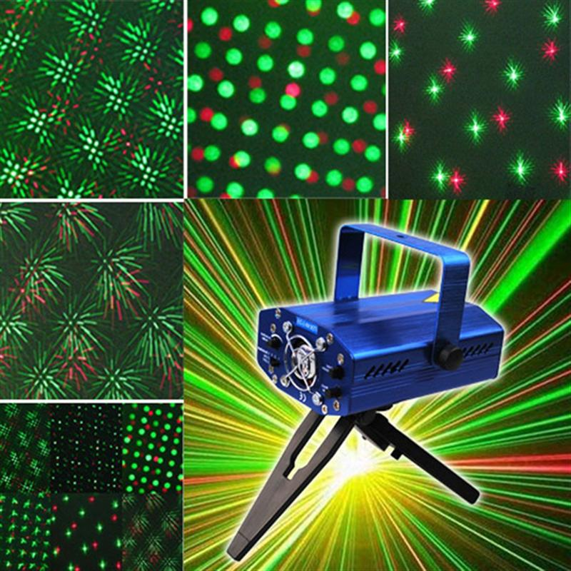 SD09 150mw Red & Green Mini Disco Laser Stage Light Party Pattern Lighting Projector With Tripod /US-Plug Power Adapter (Blue)