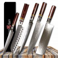 Grandsharp 5 Pcs Chef Knife Set Professional Chef's knives 67 Layer VG10 Japanese Damascus Steel Kitchen Knife Best Family Gift