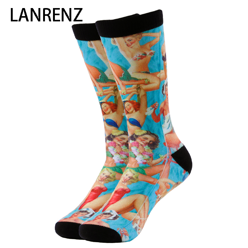 Underwear & Sleepwears 2019 Retro Swimsuit Girl Prints Men And Women Fashion Funny Socks 3d Printed Socks 200 Knitting Oil Painting Compression Socks