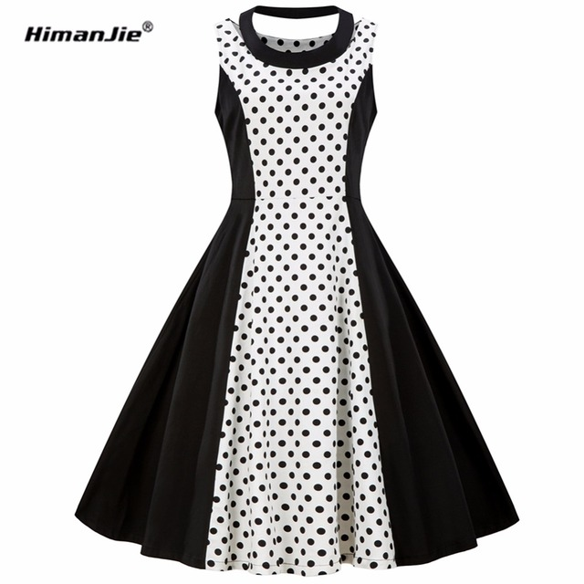 Himanjie 50s polka dot vintage retro women dress sleeveless o neck female  casual a line vestido robe femme plus size S-4XL 18a64a021ef6