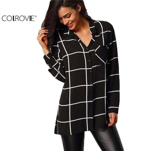 COLROVIE Tops Para Mulheres Camisas Casual Blusas Europeus Marcas Preto Bolsos Botões de Lapela de Manga Comprida Xadrez Blusa