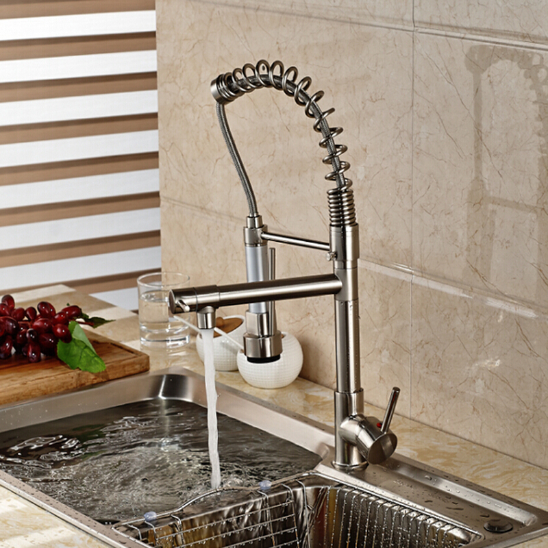 Brushed Nickel / Chrome Kitchen Faucet Double Sprayer Vessel Sink ...