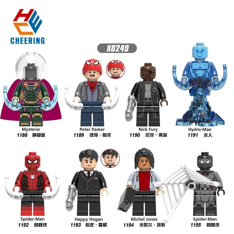Single Sale Figures Michel Jones Peter Parker Mysterio Nick Fury Hydro-Man Happy Hogan Building Blocks Toys For Children X0249