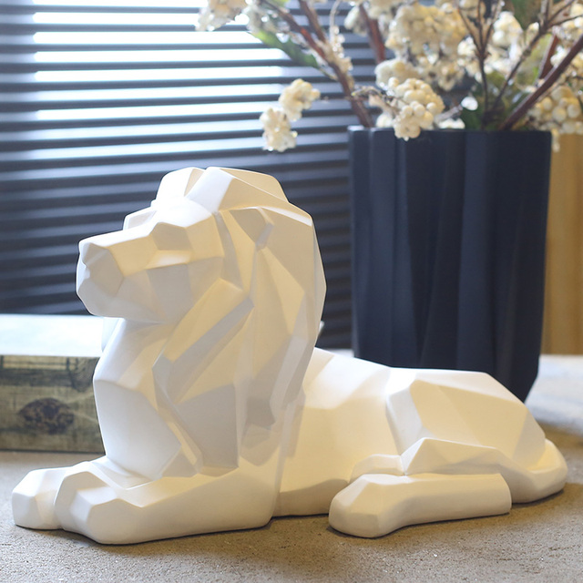 Nice Resin Geometry Abstract Lion Figurines Home Decor Crafts Room Decoration  Objects Vintage Ornament Resin Animal Figurines