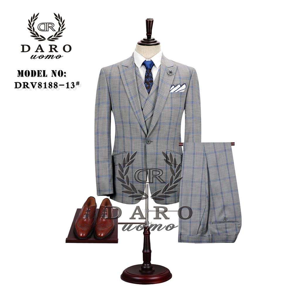 2019 DARO Mens Suit Terno Slim Fit Casual One Button Fashion Grid Blazer Side Vent Jacket And Pant For Wedding Party DR8188