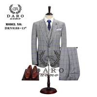 2020 DARO Mens Suit terno Slim Fit Casual one button Fashion Grid Blazer Side Vent Jacket and Pant for Wedding Party DR8188