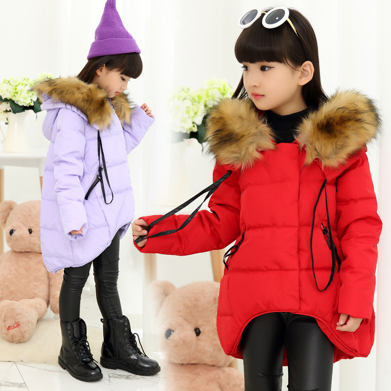 The New 2017 Sweet Child Cotton-padded Jacket Girls Winter Jackets Children Dovetail Cotton Baby Clothes new winter 2015 women cotton padded clothes draw string of cultivate one s morality show thin fashionable
