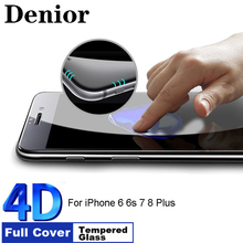 Denior 9H Hardness 4D Curved Edge Full Cover Tempered Glass for IPhone 8 For iPhone 6 6s 7 Plus Screen Protector Film