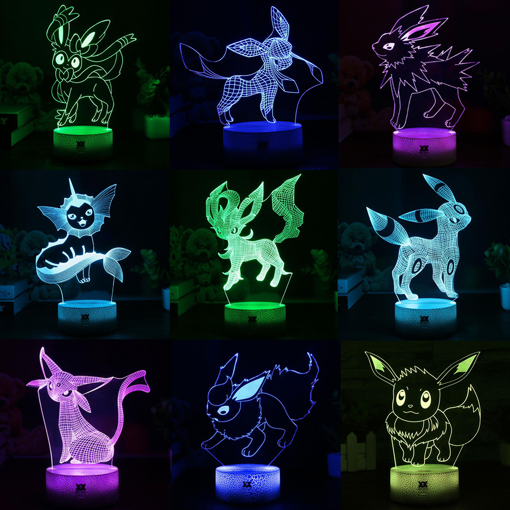 Popular Pokemon Game Eevee Family Series 3D Lamp USB Cartoon Night Light LED 7 Color Table Lamp Children Gifts HUI YUAN Brand