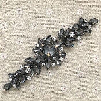 18.2*5.5cm czarny kryształ kwiat aplikacja ze strasem pas dla wieczór weselny dekoracji sukni naszywany kryształ górski